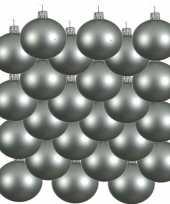 Feest 18x mintgroene glazen kerstballen 8 cm mat