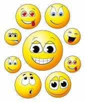 Feest 18x raamstickers smileys emoticon raamdecoratie