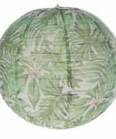 Feest 1x bol lampion hawaii met bladeren 30 cm