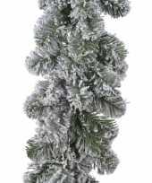 Feest 1x groene dennen guirlandes dennenslingers met sneeuw 270 x 20 cm