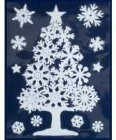 Feest 1x kerst raamversiering raamstickers witte kerstboom 29 5 x 40 cm