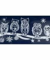 Feest 1x kerst raamversiering raamstickers witte uilen 23 x 49 cm
