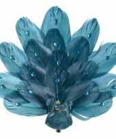 Feest 1x kerstboomversiering vogels op clip pauw glitter blauw 17 cm