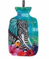 Feest 1x kruiken met hoes tropische print met olifant 2 liter
