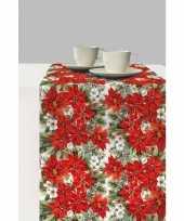 Feest 1x kunststof kerst tafellopers met kerstster bloemen print 600 x 33 cm