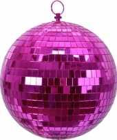 Feest 1x roze disco kerstballen discoballen discobollen foam 20 cm