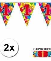 Feest 2 gekleurde vlaggenlijnen 1 jaar met sticker