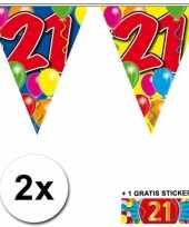 Feest 2 gekleurde vlaggenlijnen 21 jaar met sticker