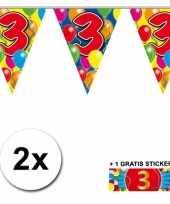 Feest 2 gekleurde vlaggenlijnen 3 jaar met sticker