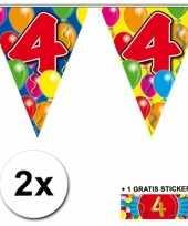 Feest 2 gekleurde vlaggenlijnen 4 jaar met sticker