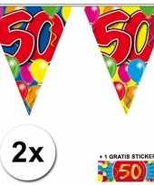 Feest 2 gekleurde vlaggenlijnen 50 jaar met sticker