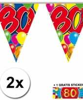 Feest 2 gekleurde vlaggenlijnen 80 jaar met sticker