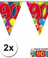 Feest 2 gekleurde vlaggenlijnen 90 jaar met sticker
