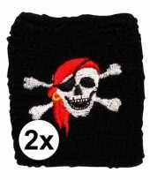Feest 2 stuks piraten zweetbandje