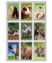 Feest 2 vellen van 3d kinder stickers boerderijdieren 9 stuks per vel