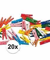 Feest 20 gekleurde houten knijpertjes