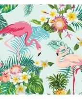 Feest 20x flamingo exotisch thema servetten 33 x 33 cm