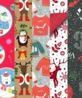 Feest 20x rollen kerst inpakpapier cadeaupapier diverse prints 2 5 x 0 7 meter voor kinderen
