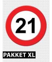 Feest 21 jarige verkeerbord decoratie pakket xl