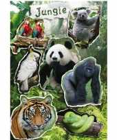 Feest 21x jungle dieren stickers met reflecterende folie effect