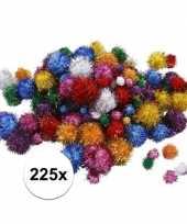Feest 225x knutsel pompons 15 40 mm glitterkleuren