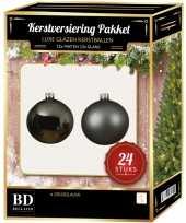Feest 24 stuks glazen kerstballen pakket grijsblauw 6 cm