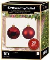 Feest 24 stuks glazen kerstballen pakket kerst rood 6 cm