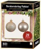 Feest 24 stuks glazen kerstballen pakket licht champagne 6 cm