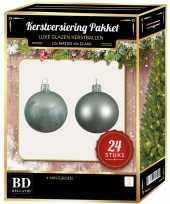 Feest 24 stuks glazen kerstballen pakket mintgroen 6 cm