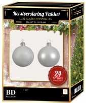 Feest 24 stuks glazen kerstballen pakket winter wit 6 cm