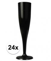 Feest 24 x champagne glazen zwart