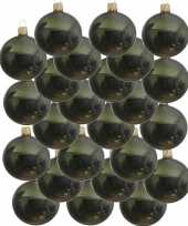 Feest 24x donkergroene glazen kerstballen 6 cm glans