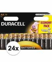 Feest 24x duracell aa batterijen alkaline