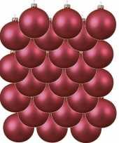 Feest 24x fuchsia roze glazen kerstballen 8 cm mat