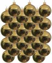 Feest 24x gouden glazen kerstballen 6 cm glans