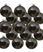 Feest 24x grijsblauwe glazen kerstballen 6 cm glans