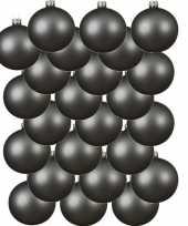Feest 24x grijsblauwe glazen kerstballen 6 cm mat