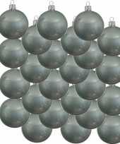 Feest 24x mintgroene glazen kerstballen 6 cm glans