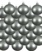 Feest 24x mintgroene glazen kerstballen 8 cm mat