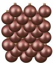 Feest 24x oud roze glazen kerstballen 6 cm mat
