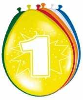 Feest 24x stuks versiering 1 jaar ballonnen 30 cm