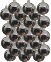 Feest 24x zilveren glazen kerstballen 6 cm glans
