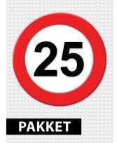 Feest 25 jarige verkeerbord decoratie pakket