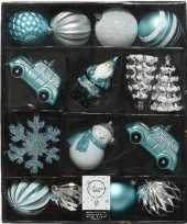 Feest 25x kerstballen en figuurtjes blauw wit zilver kunststof
