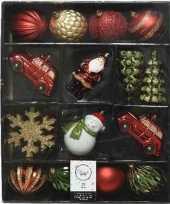 Feest 25x kerstballen en figuurtjes rood goud groen kunststof