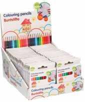 Feest 25x pakjes mini kleurpotloden setje van 12 stuks