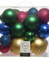 Feest 26 stuks kunststof gekleurde mix kerstballen 6 8 10 cm