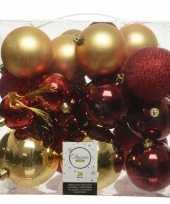 Feest 26 stuks kunststof kerstballen mix goud rood 6 8 10 cm