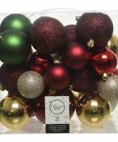 Feest 26 stuks kunststof kerstballen mix rood groen goud parel 6 8 10 cm