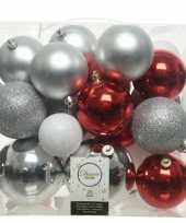 Feest 26 stuks kunststof kerstballen mix zilver rood wit 6 8 10 cm